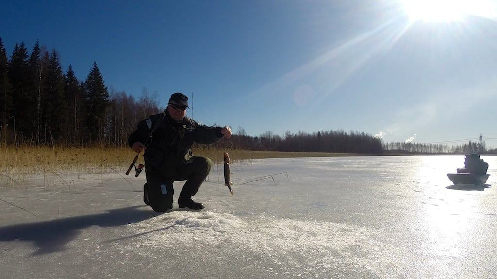 Ice fishing in Savo Finland