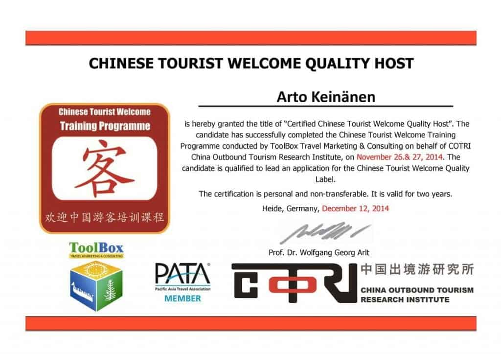 Certified Chinese tourist welcome quality HOST