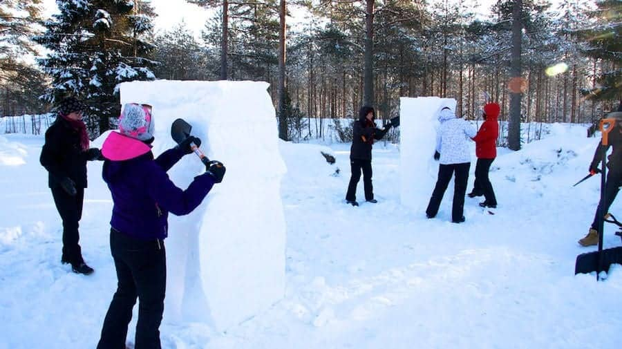snow art experience in lake saimaa