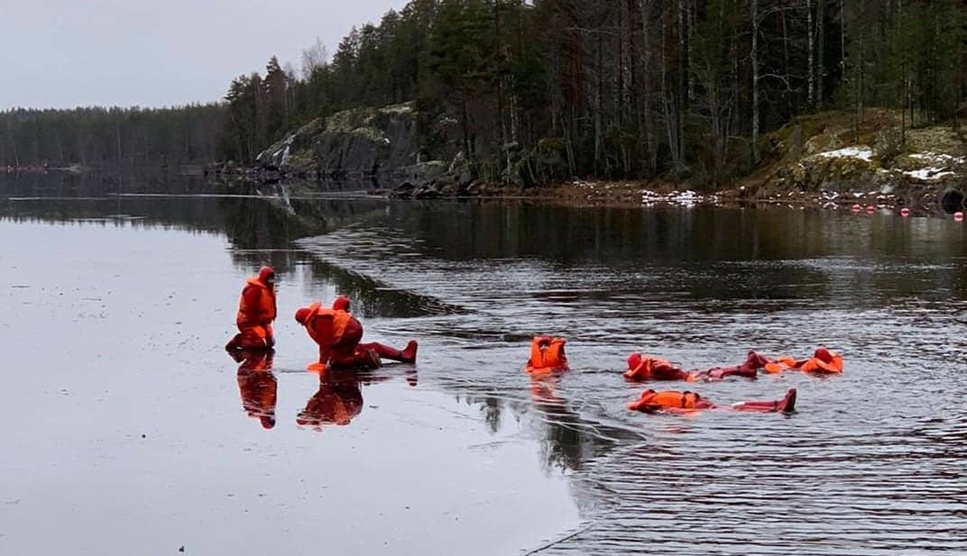 ice floating in Puumala Finland by lake Saimaa